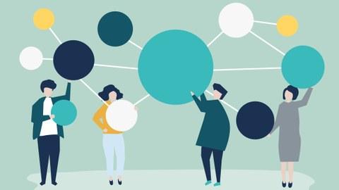 Grafisch Menschen mit Kreisen als Netzwerk