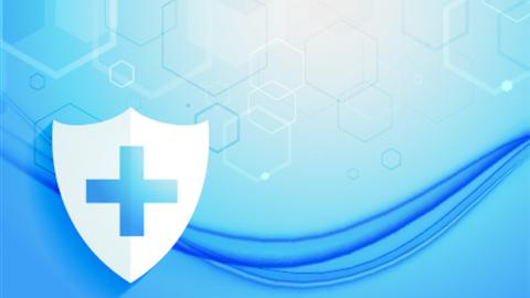 Gesundheitszeichen vor blauem Hintergrund