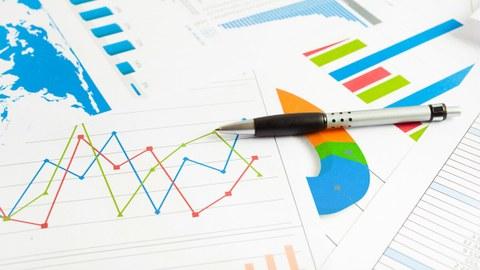 Das Foto zeigt verschiedene ausgedruckte Blätter mit Statistiken und Grafiken. Auf den Blättern liegt ein Stift.
