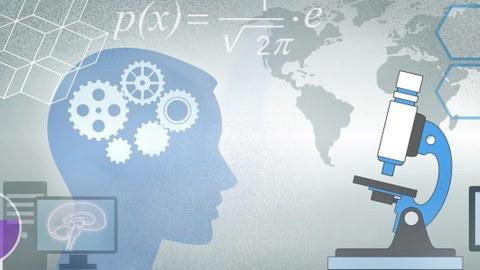 Darstellung von verschiedenen Symbolen, um die Naturwissenschaften darzustellen. Von links nach rechts erkennt man: Reagenzgläser, einen Computer, einen Kopf, eine mathematische Formel, ein Mikroskop und rechts im Hintergrund eine Weltkarte.