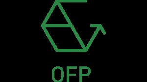 """Abbildung des OFP Logos in Form einer Wabe, deren einen Seite offen ist. Unter der Wabe steht in Großbuchstaben """"OFP""""."""