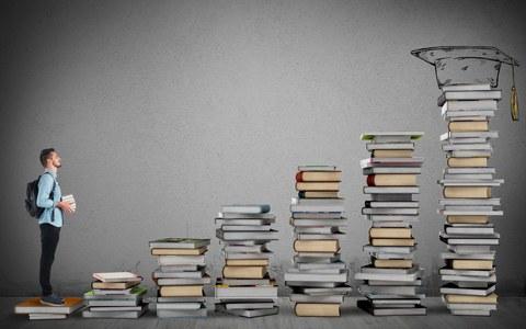 Student steht auf einer siebenstufigen Treppe aus Büchern mit Blick zur obersten Stufe mit einem Doktorhut als Ziel.