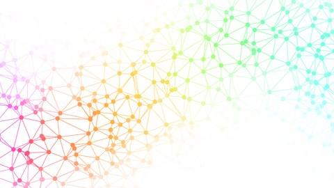 Grafische Darstellung bunter Punkte, die durch Linien netzartig miteinander verbunden sind