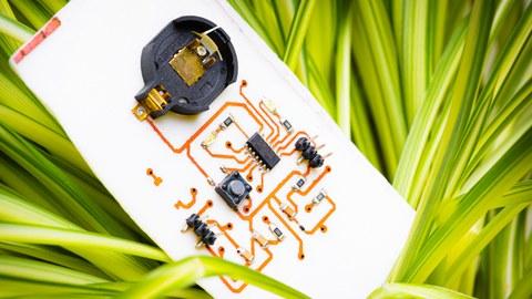 Herkömmliche elektronische Bauteile auf einem biologisch abbaubaren Substrat. Durch die Kombination mit flexibler organischer Elektronik werden im Zukunftscluster flexible und abbaubare elektronische Geräte möglich.