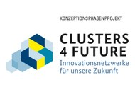 Logo Clusters4Future Initiative: Innovationsnetzwerke für unsere Zukunft. smart4life ist ein Projekt in der Konzeptionsphase von Clusters4Future.