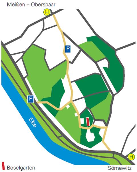 Karte mit Parkmöglichkeiten und Lage des Boselgartens