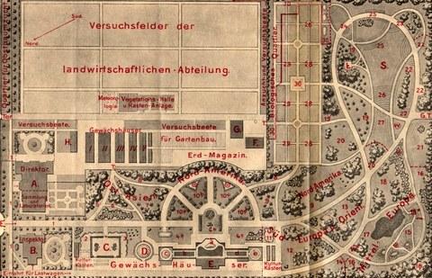 Historischer Gartenplan von 1910.