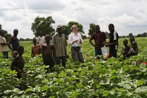 Foto von 14 Menschen  unterschiedlichen Alters in einem Feld mit grünen Jungpflanzen.