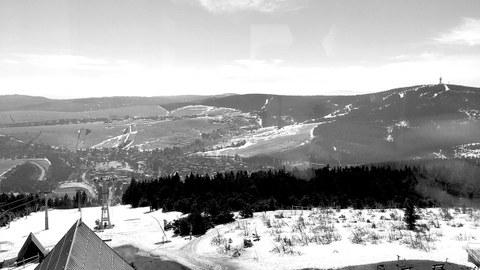Blick vom Fichtelbergturm zum Klinovec