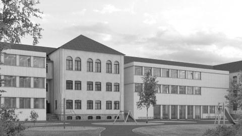 Ansicht Schulgebaeude mit Erweiterungsbauten