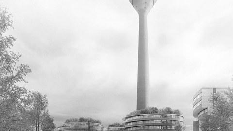 Blick auf die Erweiterung des Landtags NRW mit Rheinturm
