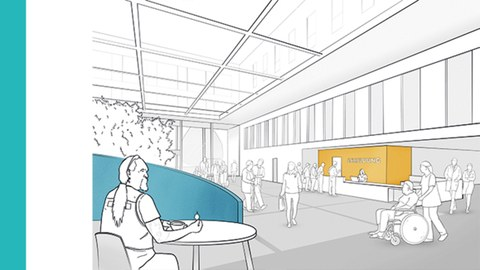 Skizze vom Eingangsbereich eines Krankenhauses