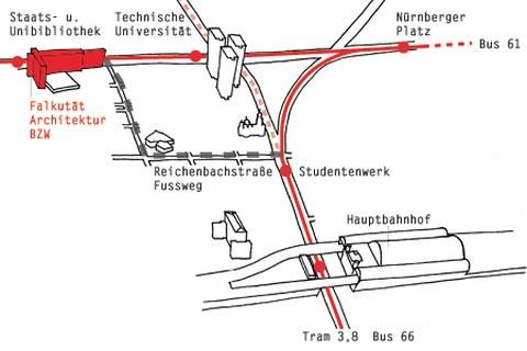 Illustration der Wegbeschreibung vom Hauptbahnhof zur Fakultät Architektur im Bürogebäude Zellescher Weg