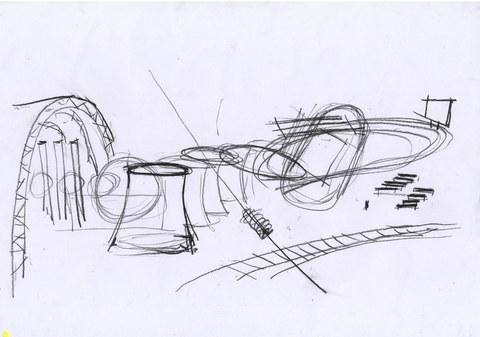 Matej Dobis: S-Bahnfahrt, Kreide auf Papier, Sommer 2007