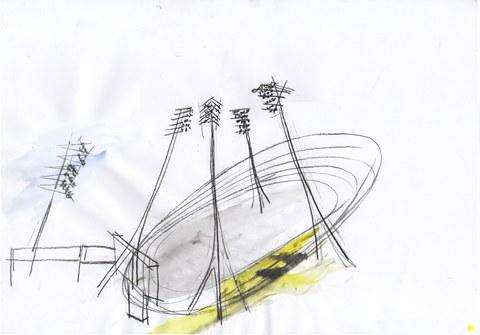 Matej Dobis:  Dynamo Stadion, Mischtechnik auf Papier,  Sommer 2007