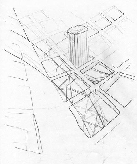 Sabine Ricken: Prager Straße, Wohnmaschine und Rundkino, Bleistift auf Papier, Herbst 2006