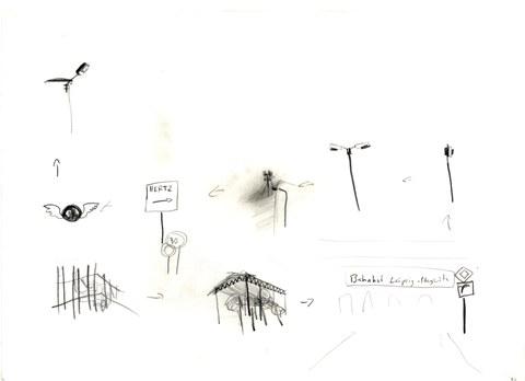Peter Irmscher: Zeichen, Bleistift auf Karton, Sommer 2006
