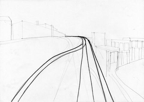 Claudia Tümmler: Leipzig Plagwitz, 42 x 59 cm, Bleistift auf Karton, Sommer 2006