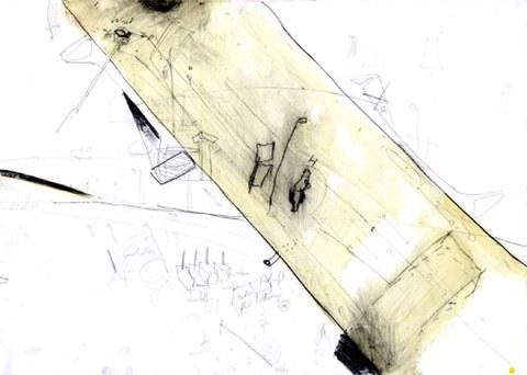Michail Banisch: Nossener Brücke, 50 x 70 cm, Mischtechnik auf Karton, Sommer 2006