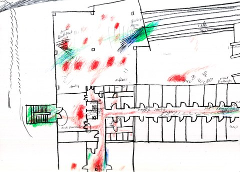 Skizze zur Kartierung von Geräuschen, Gerüchen und Gefühlen im Bürogebäude Zellescher Weg in Dresden, Luise Ritter, 2020, Bleistift und Farbstift auf Transparentpapier, 21 x 30 cm