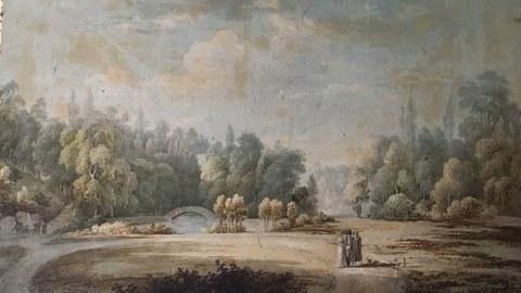 Zu sehen ist ein Aquarell vom Schlosspark Reinhardtsgrimma, Ende 18. Jahrhundert.