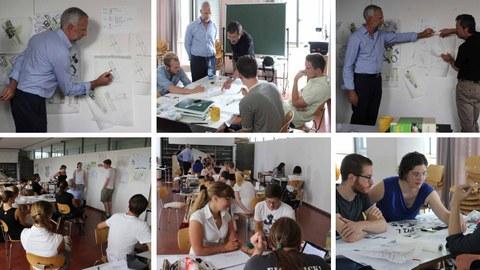 Fotos zeigen Eindrücke eines Workshops, bei dem Studenten in Gruppen arbeiten, präsentieren und Referate hören.