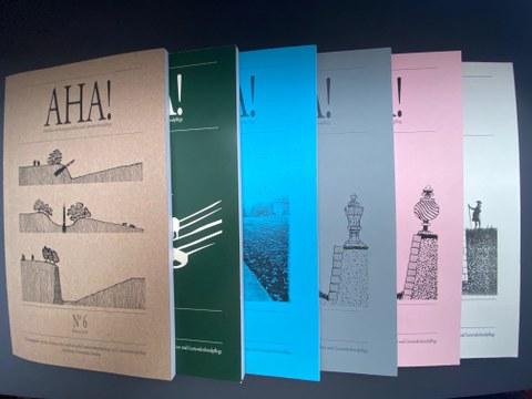 """Die sechs bisher erschienen Hefte der Reihe """"AHA!"""""""
