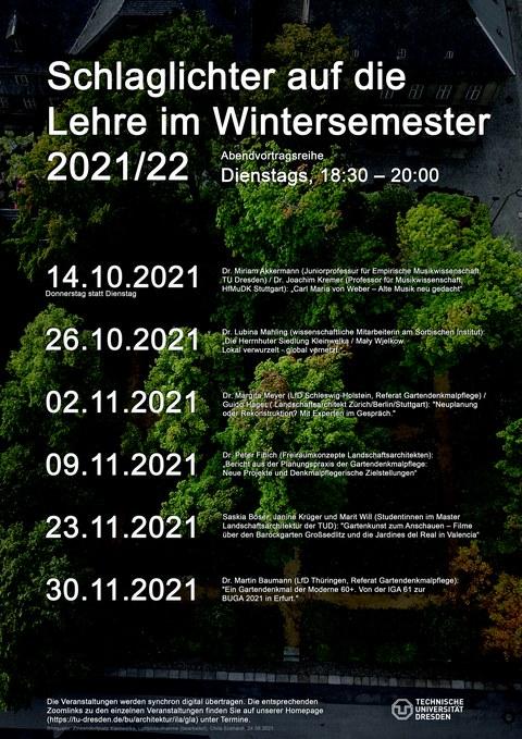 """Zu sehen ist das Poster der Vortragsreihe """"Schlaglichter auf die Lehre im Wintersemester 2021/22"""""""