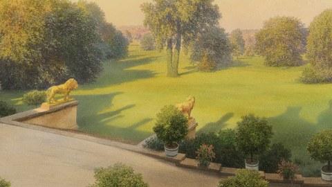 """Foto zeigt ein Plakak zur Sonderausstellung im Neuen Schloss im Muskauer Park. Das Thema der Ausstellung lautet """"Die Leichtigkeit der Farben""""."""