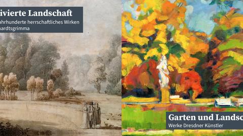 Poster thematisiert das herrschaftliche Wirken in Reinhardtsgrimma in Bezug auf kultivierte Gärten und Landschaften.