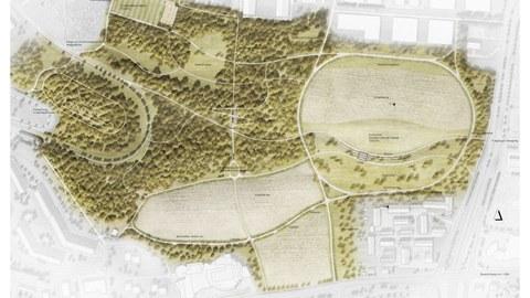 Lageplan der Masterarbeit von Linus Ahner. Südpark Dresden.