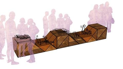 Skizze zum Enwurf von Stadtmöbeln. Eine Bank mit Menschen ist zu sehen.