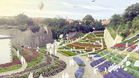 Perspektivische Darstellung der Gartenschau mit begrünten Hängen, bunten Blumen und vielen Menschen.