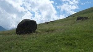 Foto aus dem Kaukasus mit Felsen und einer Schafherde