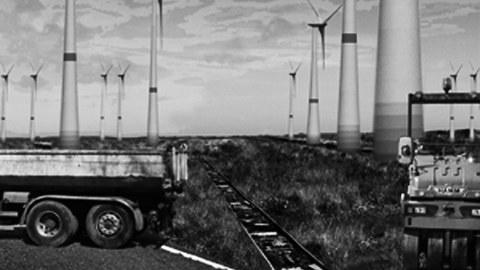 Die Abbildung zeigt eine Collage zum Thema Windenergie.