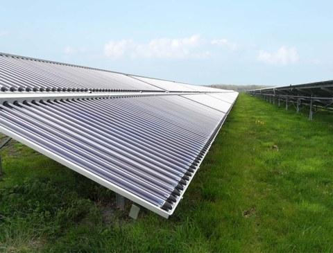 Foto einer Photovoltaikanlage auf einer Wiese