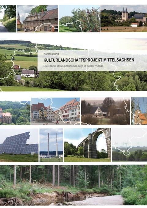 Die Abbildung zeigt das Cover der Kurzfassung des Forschungsberichtes zur Kulturlandschaft Mittelsachsen.