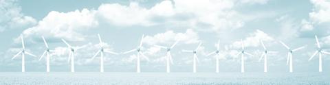"""graphische Darstellung des Logos des Forschungsprojektes """"Landschaftsbild und Energiewende"""", Foto einer Offshore-Windkraftanlage"""
