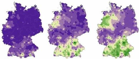 graphische Darstellung von drei Karten von Deutschland zum Landschaftswandel