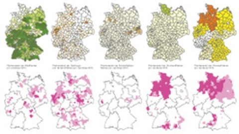 Die Abbildung zeigt Kartenausschnitte zum Forschungsprojekt Kulturlandschaft.