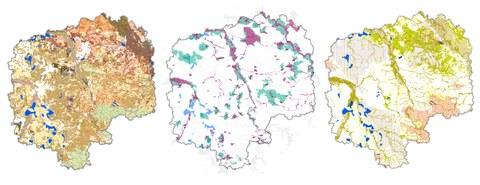 Das Bild zeigt Kartenausschnitte des Umweltberichtes zu Westsachsen.