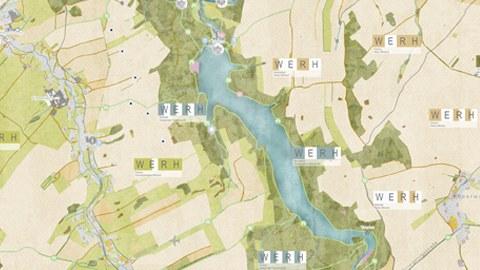 """Grafik aus einer Masterarbeit mit dem Thema """"Kulturlandschaftskonzept Wilde Weißeritz (Klingenberg)"""", Ausschnitt einer Karte zum Projektgebiet"""