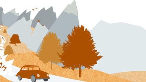 Künstlerische abstrakte Darstellung eines lauten Autos, das durch eine Gebirgslandschaft fährt