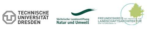 Aneinanderreihung der Logos der TU Dresden, der Sächsischen Landesstiftung für Natur und Umwelt und des Freundeskreis des Instituts für Landschaftsarchitektur