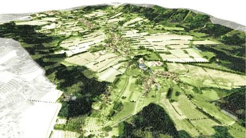 graphiche Darstellung einer Offenlandschaft mit Dorf und Feldern und Bäumen am Bildrand