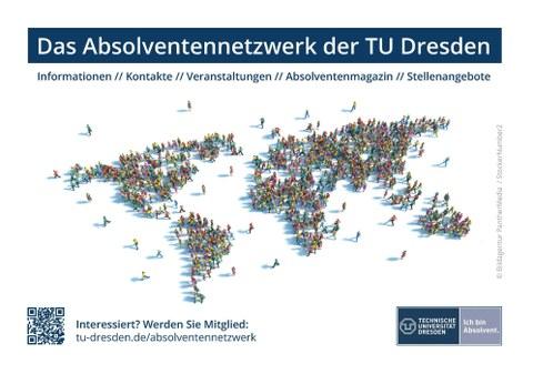 graphische Darstellung des Flyers zur Mitgliederwerbung zum Absolventennetzwerk der TU Dresden