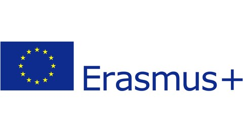 graphische Darstellung des ERASMUS+ Logos mit Europaflagge