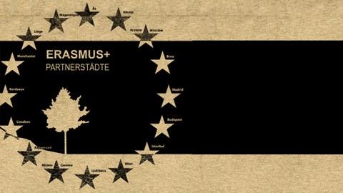graphische Darstellung des Institutsflyers Erasmus-Outgoing mit Aufzählung der Partnerstädte