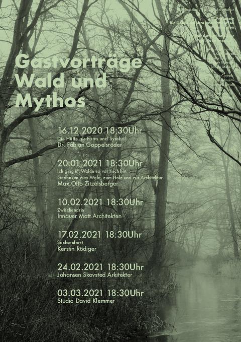 Plakat zur Veranstaltungsreihe Wald und Mythos es ist ein dunkles Moor abgebildet und die Termine zu den Veranstaltungen sind angegeben.