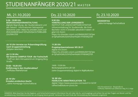 Ablaufplan Erstsemestereinführung für die Masterstudierenden Landschaftsarchitektur mit Terminen und Links zu den Videoplattformen